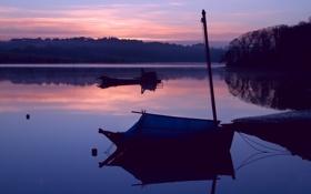 Картинка закат, озеро, лодки