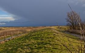 Обои поле, пейзаж, забор, дороги, вечер