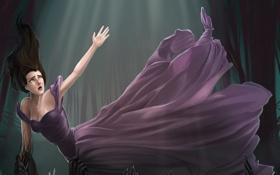 Обои девушка, свет, фантастика, тьма, руки, платье, помощь