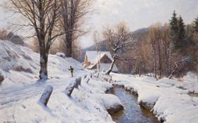 Картинка лес, река, пейзаж, Walter Moras, дом, лыжник, деревья