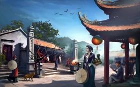 Картинка небо, птицы, люди, япония, арт, живопись, japan