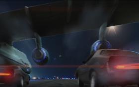 Картинка машины, самолет, арт, форсаж, Furious 6, Fast and Furious 6