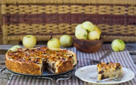 Картинка яблоки, пирог, начинка, яблочный