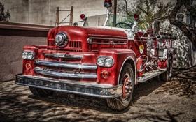 Обои HDR, красная, хром, 1957, пожарная машина