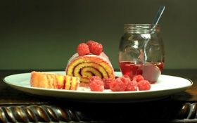 Обои рулетик, сироп, малина, ягоды