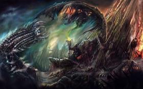 Картинка монстр, черепа, схватка, Маг, червь