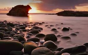 Картинка море, солнце, скала, камни, Ирландия