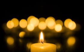 Картинка блики, фон, огонь, свеча, боке