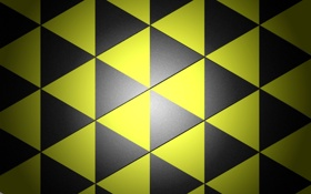 Обои желтые, фон, черные, треугольники