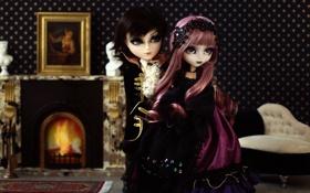 Картинка девочки, игрушки, куклы, интерьер, подружки