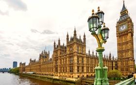 Картинка мост, река, часы, Англия, Лондон, башня, фонарь