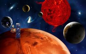 Обои корабль, космос, планеты, много