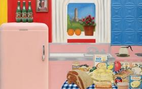 Обои цветы, интерьер, апельсины, картина, окно, сок, холодильник