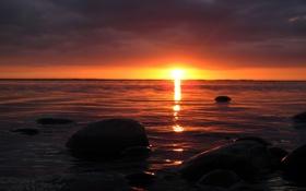 Обои море, волны, небо, вода, солнце, свет, закат