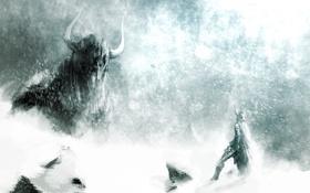 Обои монстр, снежная, меч, гигантский, буря, доспехи, воин