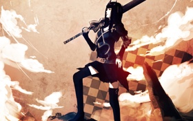 Картинка девушка, скалы, меч, корона, Black Rock Shooter, Dragon Slayer, Стрелок с Черной горы