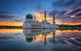 Обои облака, Сабах, мечеть Likas, песок дороги, города Кота-Кинабалу Мечеть, Likas Бэй, зеркало