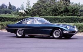 Картинка дорога, фары, классика, кусты, Lamborghini 350 Gtv \'1963