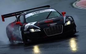 Картинка Audi, Авто, Черный, Скорость, Бампер, Брызги, Фары
