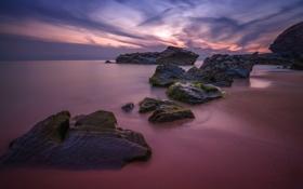Обои пляж, скалы, вечер, Великобритания, Уэльс, графство Корнуолл