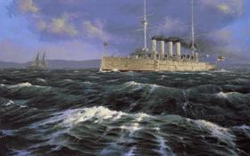 Обои рассвет, волны, море, крейсер, парусник, берег, Peter Rindlisbacher