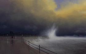Картинка море, волны, ночь, шторм, город, огни, буря