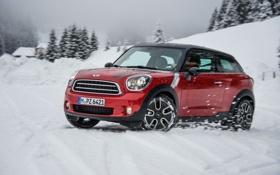 Картинка Красный, Зима, Авто, Снег, Машина, Mini Cooper, MINI