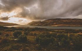 Картинка облака, озеро, холмы, кусты, солнечный свет, дождливый