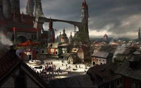 Картинка мост, трубы, город, люди, замок, дым, башня