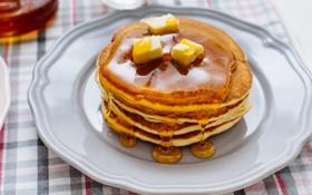 Обои масло, мед, тарелка, блины, тесто