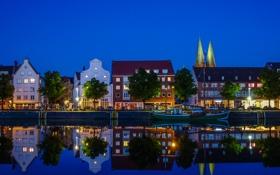 Картинка небо, огни, отражение, река, лодка, дома, Германия