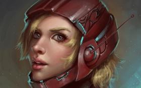 Обои девушка, арт, блондинка, шлем