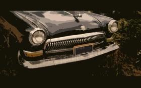 Обои волга, авто, рисунок. обои, арт, фон, машина, ретро