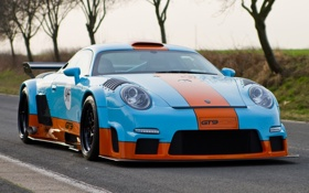 Обои Порше, Porsche, 911, GT9, передок.тюнинг, суперкар, дорога