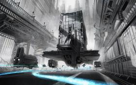 Обои транспорт, голубое, будущее, дым, монохромное, город, линии