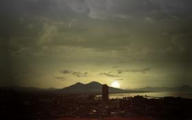 Обои солнце, город, фото, здания, обработка, небоскрёбы, высотки