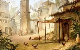 Обои город, дома, арт, постройки, египет, куры