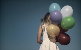 Обои небо, девушка, шары