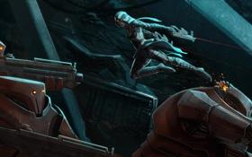 Обои art, робот, девушка, оружие, gun runner