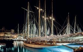 Обои гавань, дома, яхта, ночь, Монако, Монте-Карло, огни