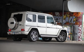 Обои amg, Mercedes, g63, white, graffiti, Мерседес, белый