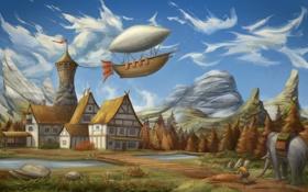 Картинка лес, облака, горы, мост, река, слон, арт