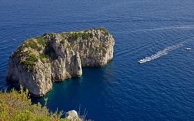Картинка море, скала, остров, Италия, Капри