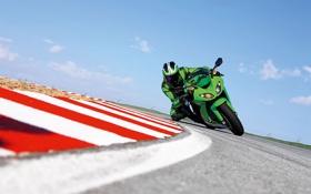 Обои человек, скорость, поворот, Kawasaki, кавасаки, байки, мото обои
