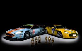 Картинка астон мартин, aston martin, чёрный фон, чемпионат gt3, гоночные болиды, победители, кубки