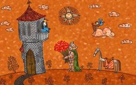 Обои сказка, солнце, принцесса, букет, принц, башня, конь