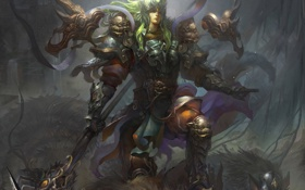 Картинка доспех, зеленые волосы, копье, воин, арт, оружие