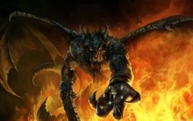 Обои корона, рога, Демон, крылья, меч, пламя