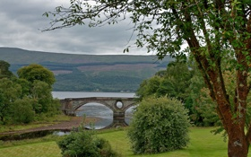 Картинка река, арка, деревья, небо, горы, мост