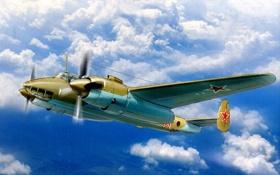 Картинка небо, рисунок, арт, бомбардировщик, дневной, советский, двухмоторный